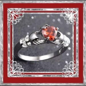 🌺🌴🌺 RED RUBY GEMSTONE CLADDAGH RING 🌺🌴🌺
